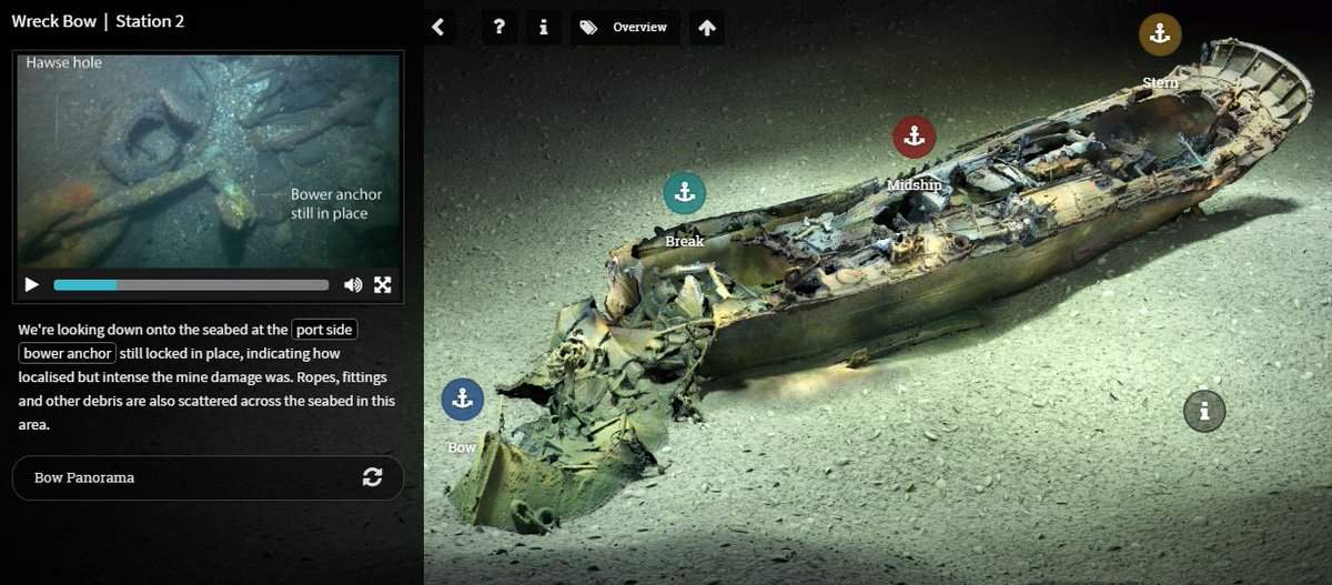 The 3D tour of the wreck of HMT Arfon. Accessible at: http://www.3d-tours.uk/arfon